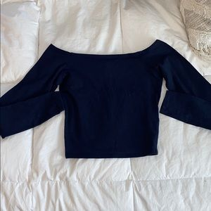 Abercrombie & Fitch Navy Off The Shoulder Crop Top